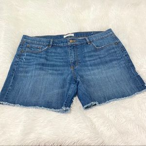 Ann Taylor Loft raw hem medium wash denim shorts